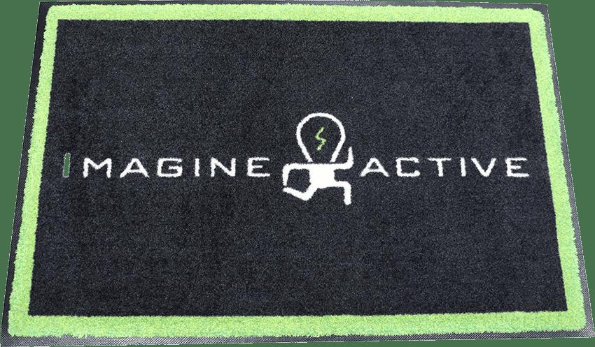 Imagine active logo on Rev247 logo rug